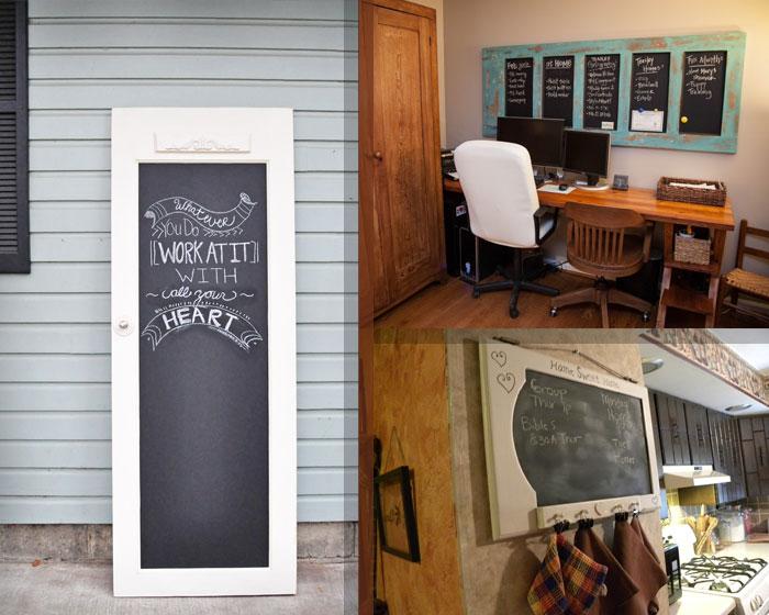 доска для мела из старых деревянных дверей